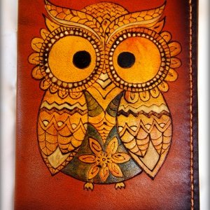 Кожаная обложка на паспорт Сова цветная