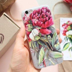 """Чехол для телефона  с авторской иллюстрацией """"Пионы"""""""