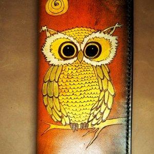 Кожаный кошелек Желтая сова