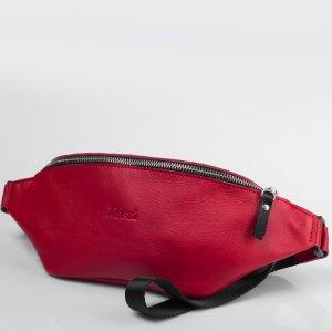 Красная поясная сумка бананка из натуральной кожи  Klasni