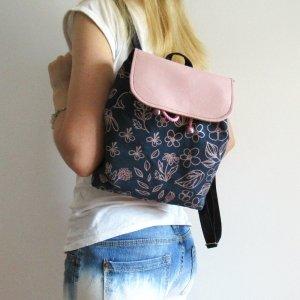 "Робота Рюкзак ""Pink flowers"" текстиль рожеве золото"