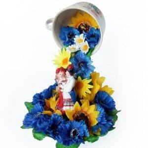 Робота Топиарий парящая чашка Квітуча Україна Украинский сувенир