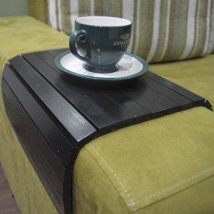Деревянная накладка-столик на подлокотник дивана (черный)