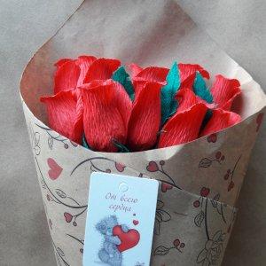 Букет червоних троянд. Букет з цукерок. Букет на весілля