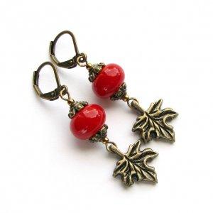Робота Серьги ′Кленовые листья′ красные