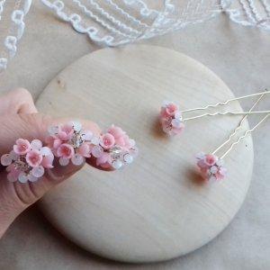 Ніжно рожеві шпильки, шпильки для волосся, шпильки з квітами