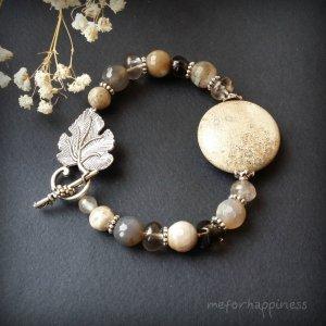 Робота Сірий білий браслет з коралу та агатів