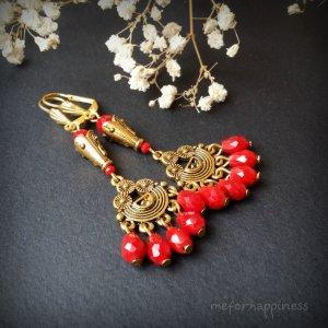 Робота Червоні золоті сережки довгі з підвісками