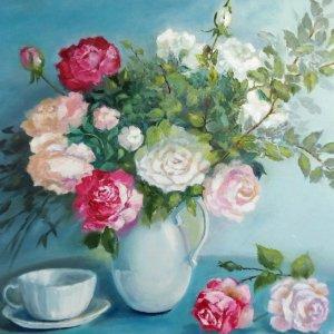 """Робота  Картина маслом """"Натюрморт с розами"""" цветы 50 х 40"""