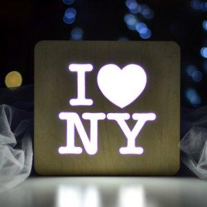 Робота Ночник из дерева - I love NY