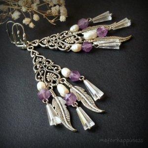 Робота Фіолетові сережки з аметистами перлами та пір'ям