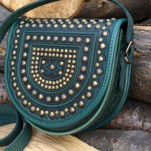 Робота сумка шкіряна Тобівка метал зелена
