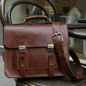 Робота Мужской кожаный портфель ручной работы