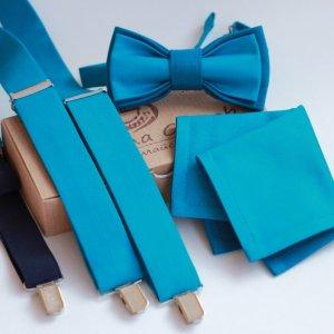Комплект подтяжки, бабочка и платок-паше бирюзовый