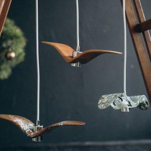 Дерев'яний світильник, дизайн птаха. Ручна робота. Люстра