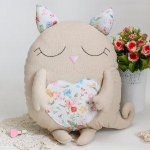 Котик іграшка-подушка квітковий