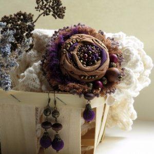 Робота Брошь текстильная Виолетта