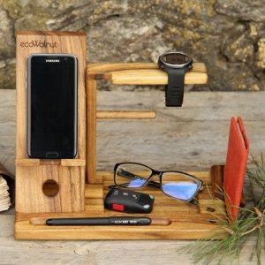 Деревянный Мужской Органайзер Для Телефона iPhone Из Дерева